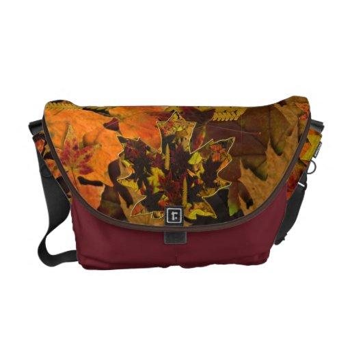 La bolsa de mensajero - hojas y oro de otoño bolsas de mensajería