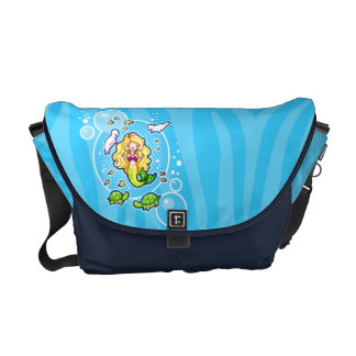 La bolsa de mensajero linda de la sirena de la bur bolsas de mensajería