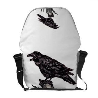 La bolsa de mensajero media del cuervo, diseño bolsa messenger