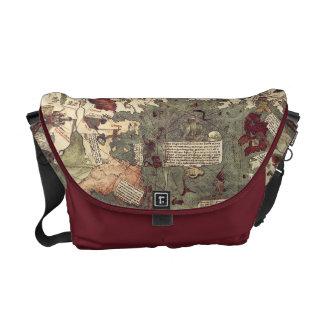 La bolsa de mensajero medieval del mapa del mundo  bolsa de mensajería