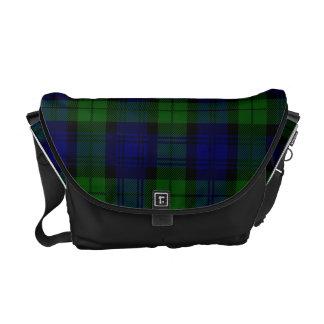La bolsa de mensajero negra de la tela escocesa de bolsas de mensajeria