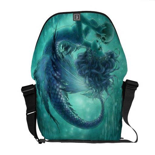 La bolsa de mensajero oscura de la sirena - besos  bolsas messenger