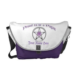 La bolsa de mensajero pagana púrpura de encargo de bolsa messenger