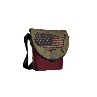 La bolsa de mensajero patriótica de la arpillera d bolsa messenger