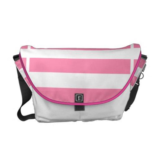 La bolsa de mensajero rayada del rosa de la bellez bolsas de mensajeria