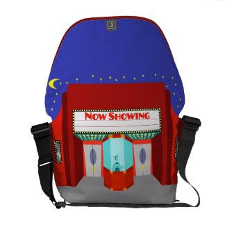 La bolsa de mensajero retra del carrito del cine bolsa de mensajeria