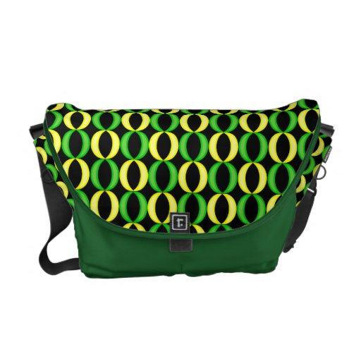 La bolsa de mensajero retra en verde y amarillo bolsa de mensajeria