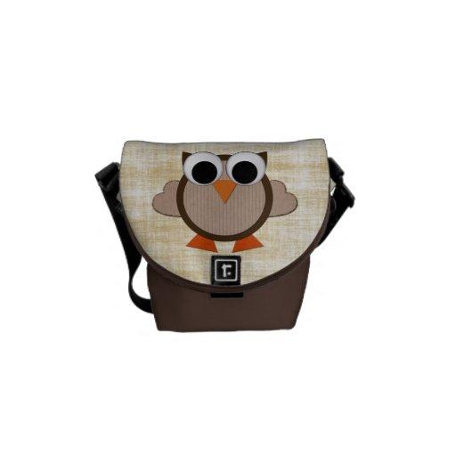 La bolsa de mensajero retra linda de Brown del búh Bolsa Messenger