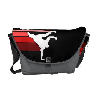 La bolsa de mensajero roja/blanca de la pendiente  bolsa de mensajería