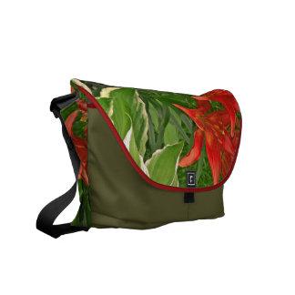 La bolsa de mensajero roja brillante de los lirios bolsas de mensajería