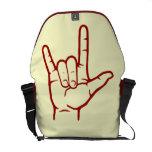 La bolsa de mensajero roja del ASL te amo Bolsa De Mensajería