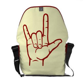 La bolsa de mensajero roja del ASL te amo Bolsas De Mensajeria