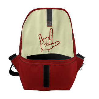 La bolsa de mensajero roja del ASL te amo Bolsa De Mensajeria
