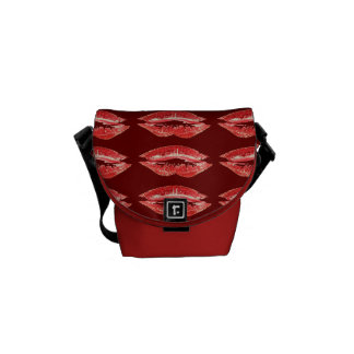 La bolsa de mensajero roja del beso de los labios bolsas messenger