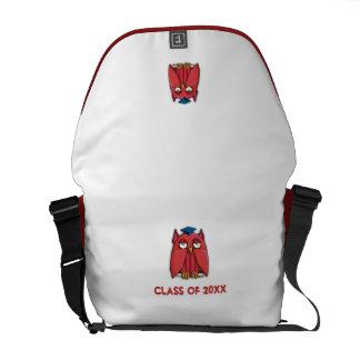 La bolsa de mensajero roja del graduado del búho bolsa de mensajería
