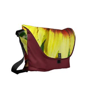 La bolsa de mensajero roja y amarilla del girasol bolsas de mensajeria