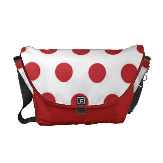 La bolsa de mensajero roja y blanca del lunar bolsa de mensajeria