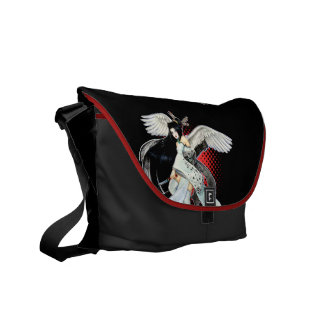 La bolsa de mensajero roja y negra del geisha de l bolsa de mensajería