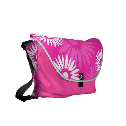 La bolsa de mensajero rosada de las flores del ver bolsa de mensajeria
