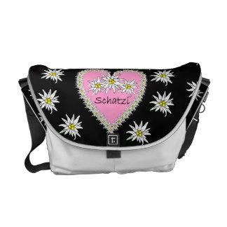 La bolsa de mensajero rosada del corazón de Schatz Bolsas De Mensajería