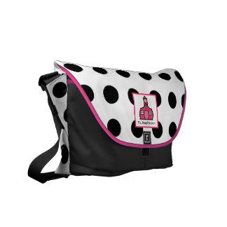La bolsa de mensajero rosada y negra del profesor  bolsa de mensajería