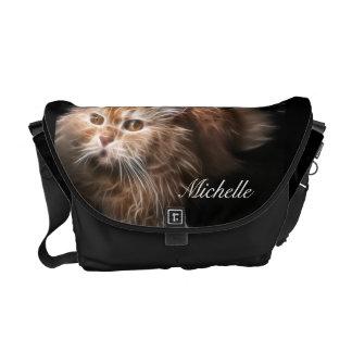 La bolsa de mensajero rubia del fractal del gato bolsas de mensajeria