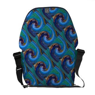 La bolsa de mensajero tejada abstracta verde azul  bolsa de mensajería