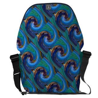 La bolsa de mensajero tejada abstracta verde azul bolsas messenger