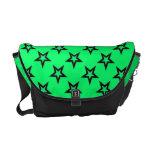 La bolsa de mensajero verde de la estrella estupen bolsas de mensajería