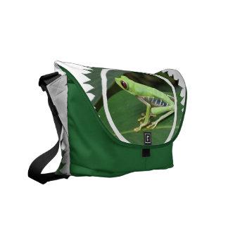 La bolsa de mensajero verde de la rana arbórea bolsas de mensajería