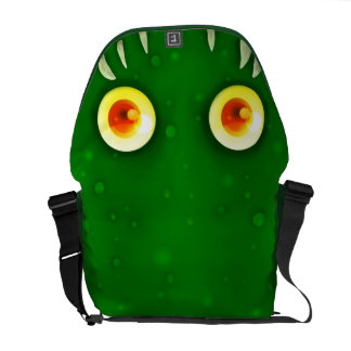 La bolsa de mensajero verde de los ojos grandes bolsas de mensajería