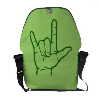 La bolsa de mensajero verde del ASL te amo Bolsas De Mensajería