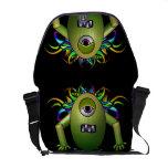 La bolsa de mensajero verde del carrito del monstr bolsas de mensajeria