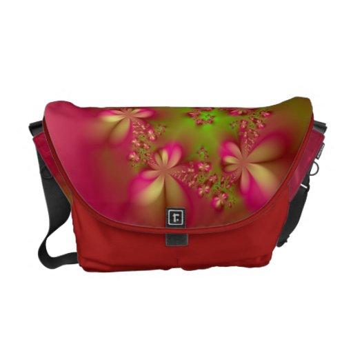 La bolsa de mensajero viva y roja floral bolsas de mensajeria