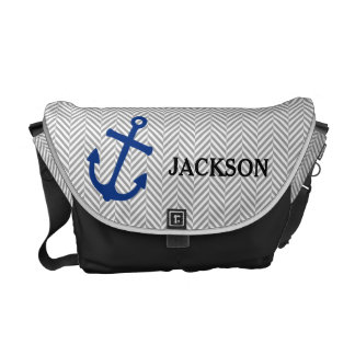 La bolsa de pañales azul náutica personalizada del bolsas de mensajeria