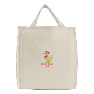 La bolsa de pañales bordada niña del tote de la