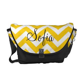 La bolsa de pañales moderna amarilla y blanca de C Bolsa De Mensajeria