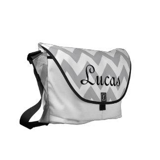 La bolsa de pañales moderna gris y blanca de Chevr Bolsa De Mensajeria