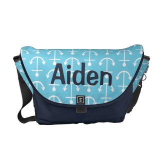 La bolsa de pañales náutica del ancla de los azule bolsas de mensajería