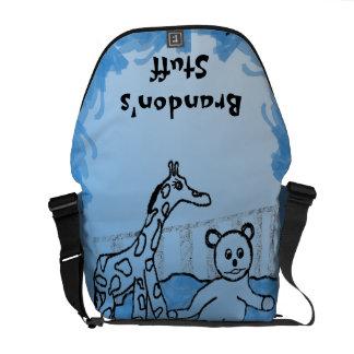 La bolsa de pañales personalizada azul del sitio d bolsa de mensajería