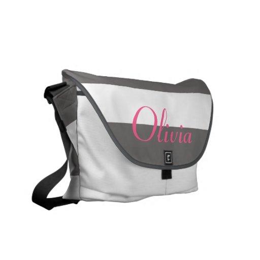 La bolsa de pañales rayada moderna gris y blanca bolsas messenger