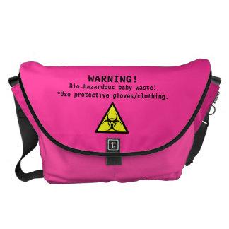 La bolsa de pañales rosada vibrante/Bio-Peligroso- Bolsa Messenger