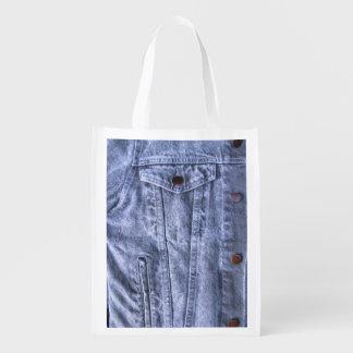 La bolsa de poliéster azul del ~ de la mirada del  bolsas reutilizables