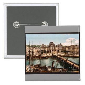 La bolsa y muelles, vintage Photochrom de Havre, F Pins