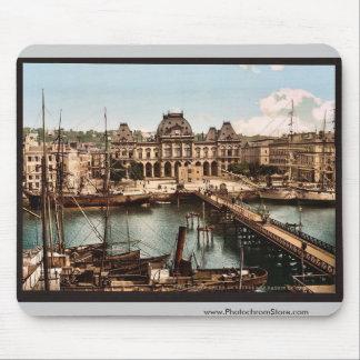 La bolsa y muelles, vintage Photochrom de Havre, F Alfombrilla De Ratón