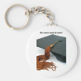 La borla digno de la graduación del molestia llavero redondo tipo pin