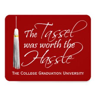 """La borla roja valió la graduación de la invitación 4.25"""" x 5.5"""""""
