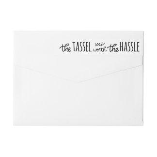 La borla valió la escritura del molestia moderna etiquetas postales