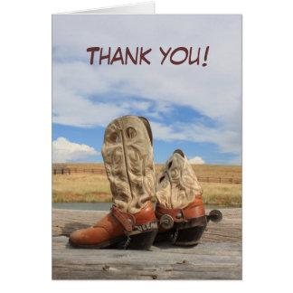 La bota de vaquero occidental le agradece cardar tarjeta pequeña
