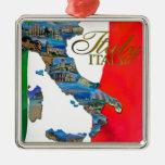 """La """"bota italiana """" adorno navideño cuadrado de metal"""